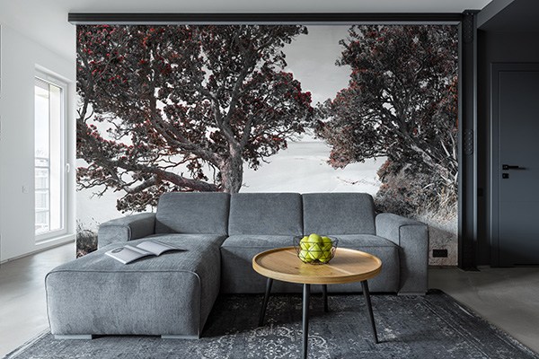 POHUTUKAWA - wallpaper mural - - This customer wanted a beautiful feature backdrop to their lounge area and we used the landscape panorama ''Coastal Bliss' with muted tones.