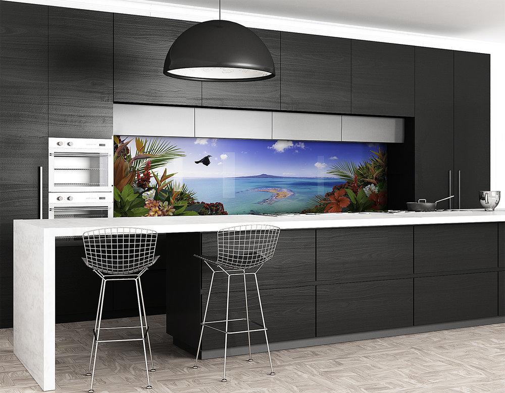 Tropical View - printed image splashback