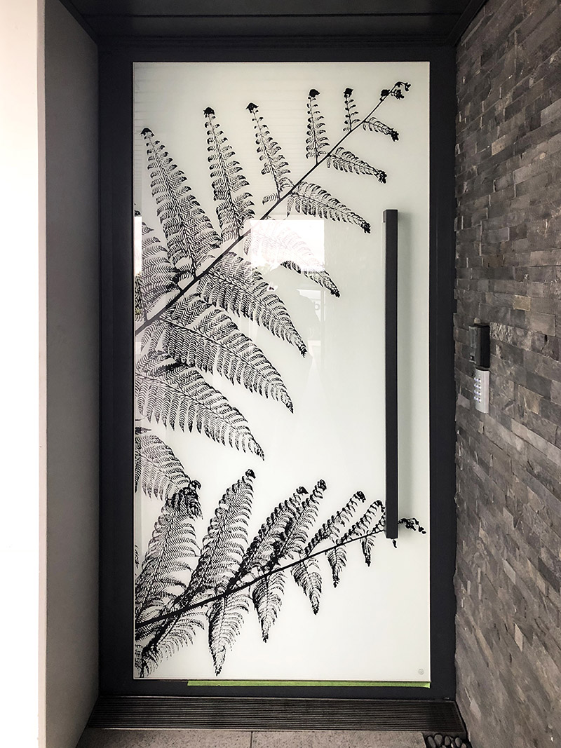 Printed glass front door - fern silhouette