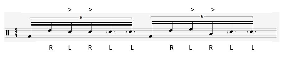 Here's a fill idea you can try using 16th note triplets. The arrow things are accents (play loud) and the notes in brackets are ghost notes (play softly). Practise only on the snare to start with (still playing kick drum).