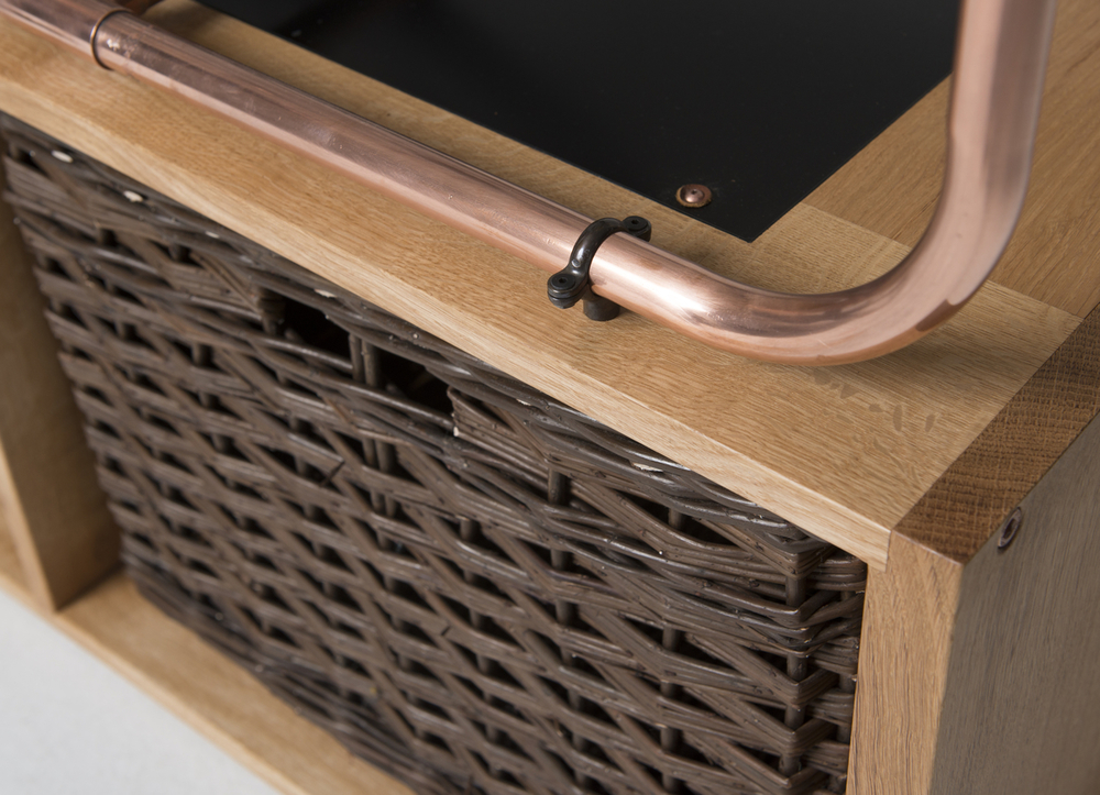 Scottish oak, copper, blackened brass, oiled Tuscan leather, powder coated steel and steamed willow