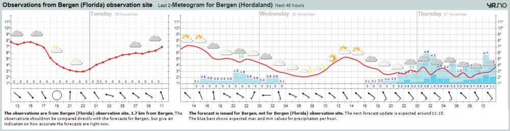 Været i Bergen 5. november i følge yr.no