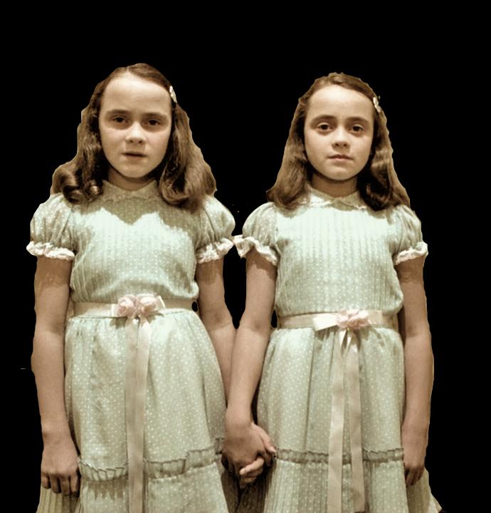 De skumle tvillingene fra Stanley Kubricks  The Shining  (1980). Det skal påpekes at de fleste tvillinger er som folk flest, bortsett fra at de tilsynelatende er flinkere til å stille opp på spørreskjema når forskningen trenger det.