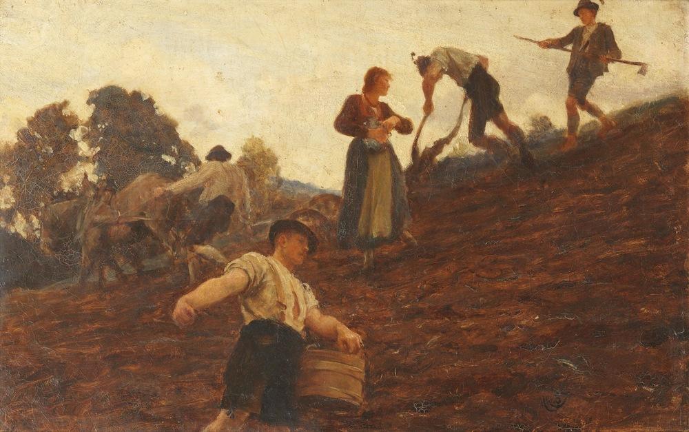 Farm workers tilling and sowing a hillside (1885) av Hubert von Herkomer. «Formidling» på engelsk er «dissemination», som kommer fra latinsk «å så frø».