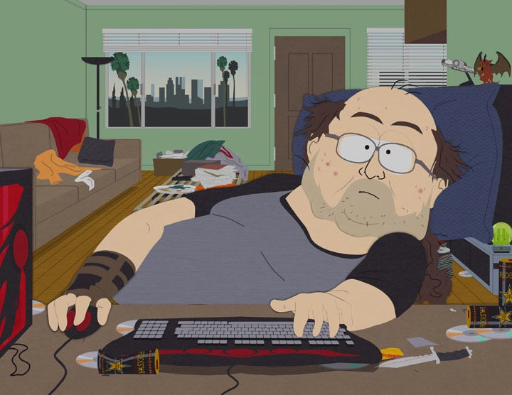 I episoden « Make Love, not WarCraft » av serien  South Park  kan vi se en stereotypisk fremstilling av en som spiller mye World of Warcraft.