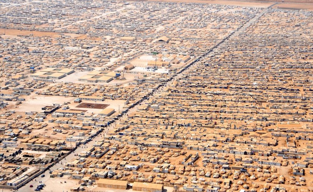 Flyktningleiren Za'atri for syriske flyktninger, den 18. juli, 2013. Tatt fra John Kerry og Nasser Judehs helikoptertur.