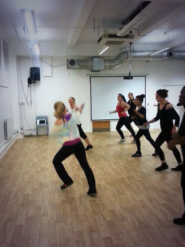 Kasia and Justyna lead the way with Zumba - so much energy they were just  blur!