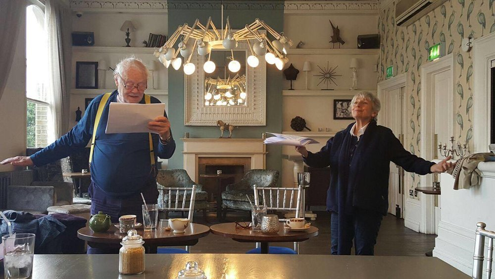 Dudley and Kate at a read-through of The Chairs