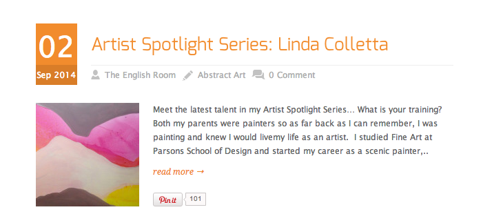 If you ever wanted to know a handful more about me...here you go!! Thrilled to be included in The English Room's Artist Spotlight Series,  Thank you Holly Hollingsworth!