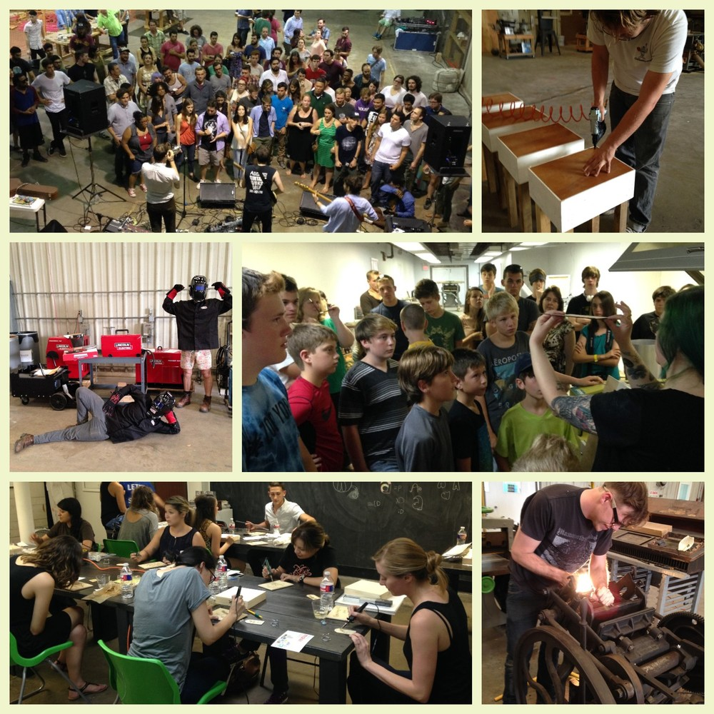 Clockwise from top left: The Eastern Sea show, Will Hesser of Steamboat Ampworks building side tables for the lobby, Director Maclean Smyth showing the Magnolia Young Entrepreneurs how a lasercutter works, Travis Smith from the Printing Museum rehabilitating a letterpress, Handlettering Houston teaching a pyrography workshop, and Facilities team members trying out new Lincoln Electric gear.