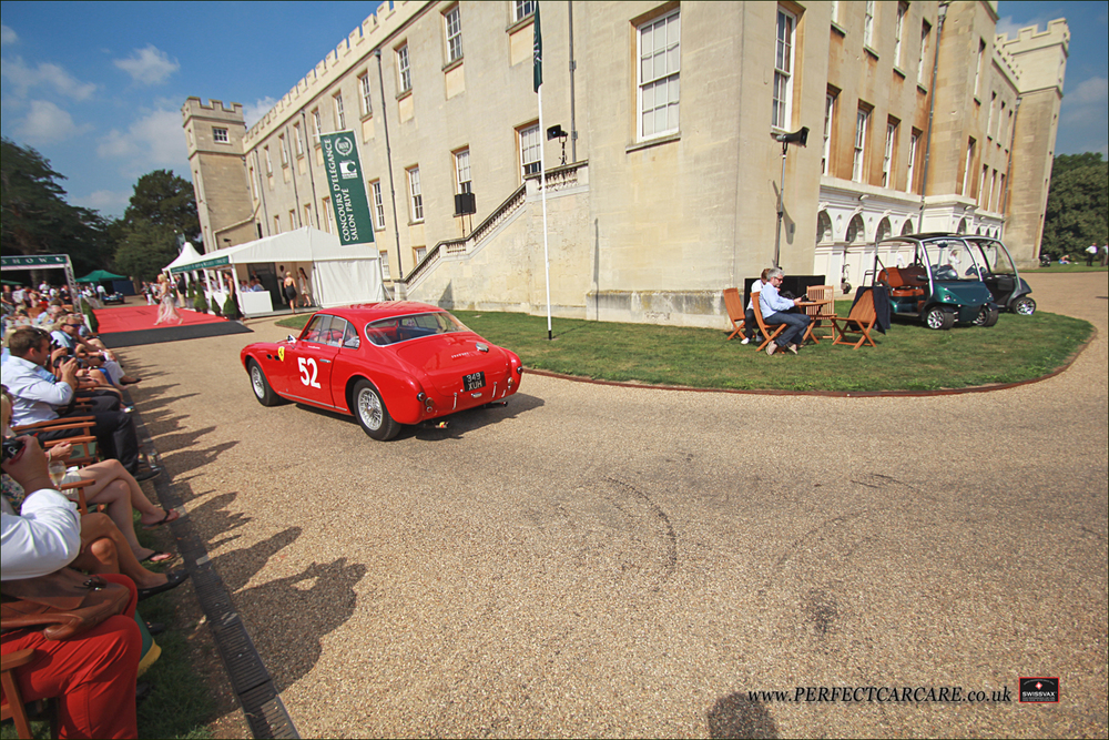 1952 Ferrari 212 pulls onto the main stage.