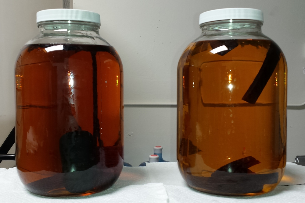 Whiskey aging in 1G jars with spirals after 1 month - Hertzbier on the left.