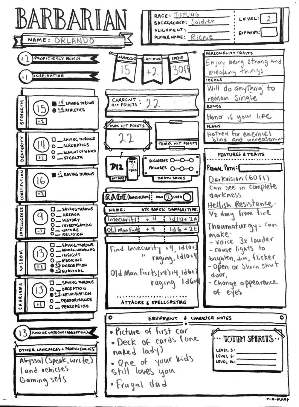 Character Sheet Art by Rose Nadia Whittaker