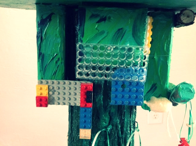 Legos on wood and mix media, one part of Green Totem