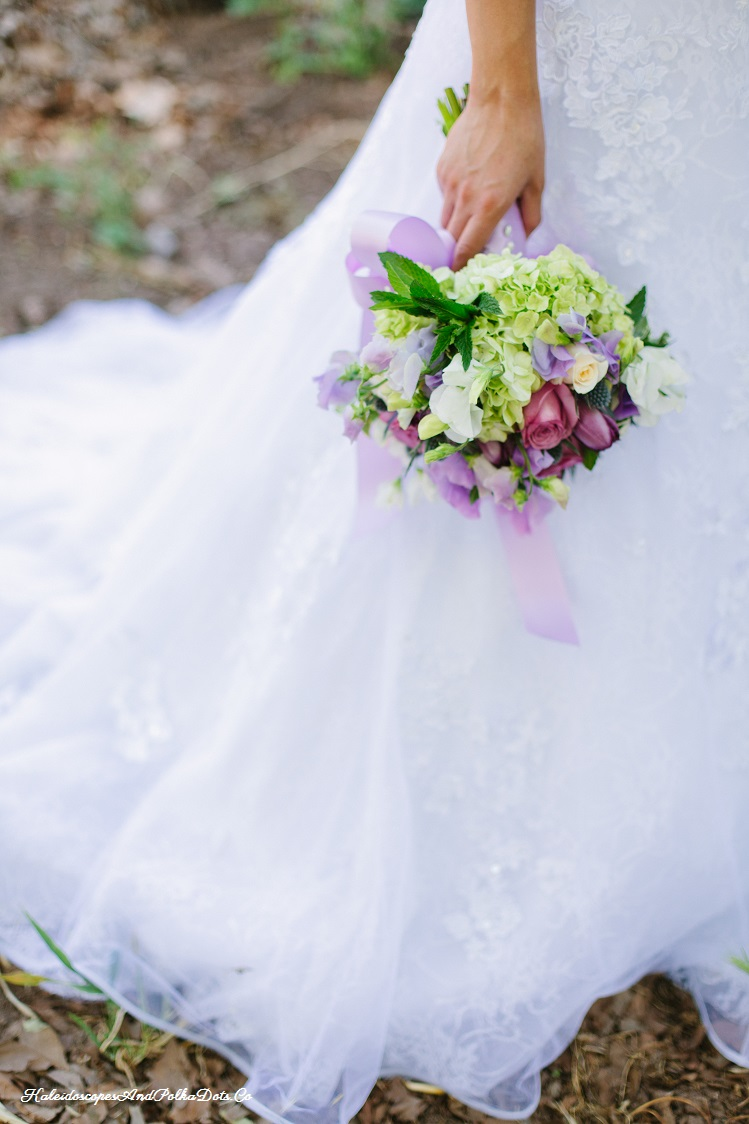 Bottom detail of my wedding dress - and my fabulous bouquet of flowers // Kaleidoscopes And Polka Dots
