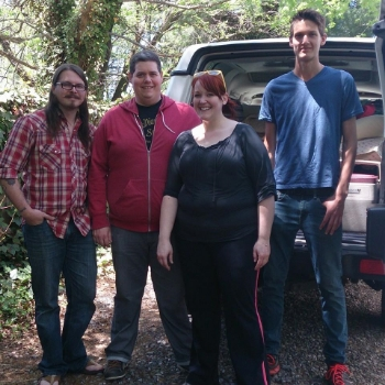 L to R Dakota, John, Anna, and Julian:  Heading to MerleFest 2014!