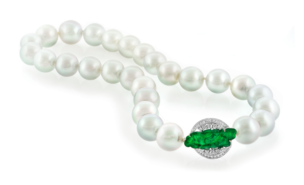 South Sea Pearl Strand with Imperial Jadeite Jade Diamond Clasp
