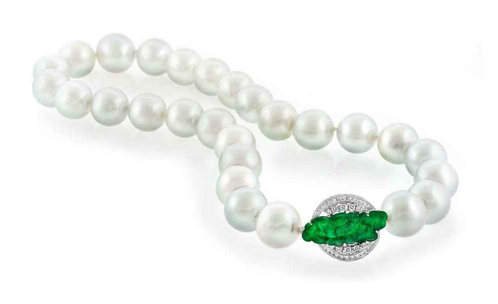 South Sea Pearl Strand with Imperial Jadeite Jade Diamond Clasp