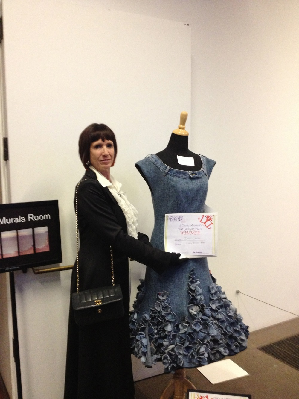 "On Friday, April 12th, 2013, Dawn Castel's ""Fleurs Bleues"" submission won the prestigious Best Garment Award at San Francisco's de Young Museum Discarded to Divine premiere."