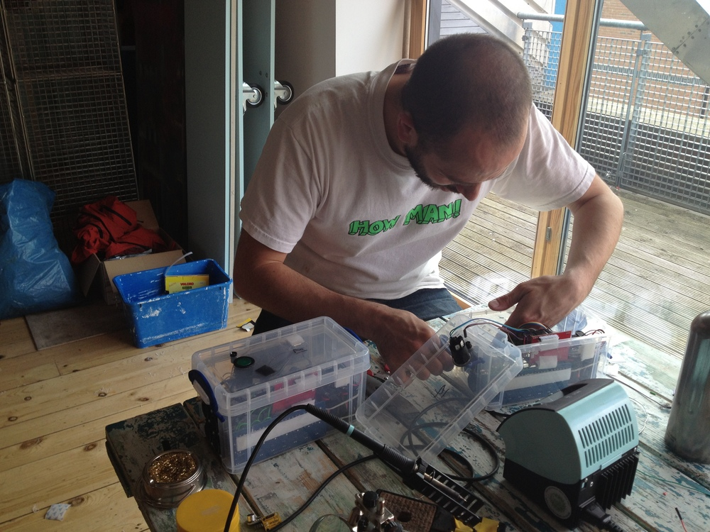 Pete Evans soldering the last horn control box