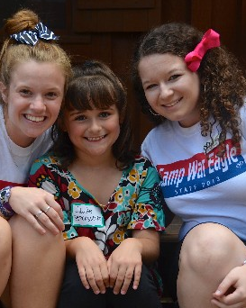 Jillian with her cabin leaders at Camp War Eagle