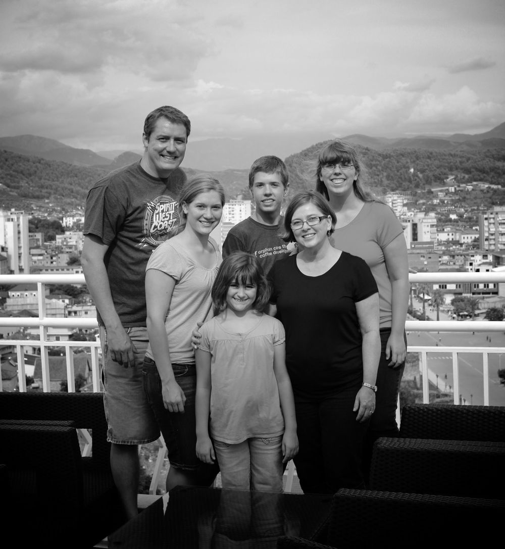 Ken, Tanja, Shelby, Bethany, Robbie and Jillian Shackelford - overlooking Elbasan.