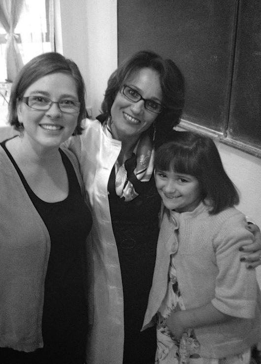 Tanja and Jillian with our friend (and Jillian's teacher) Alketa.