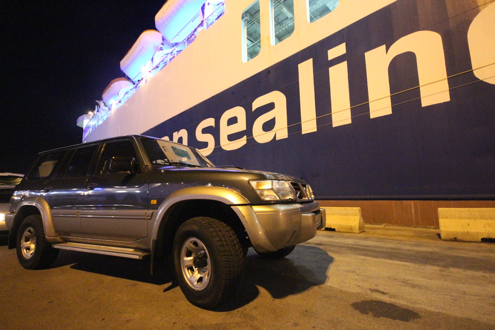 "About to drive our ""new"" Nissan Patrol onto the overnight ferry to cross the Adriatic and get back home to Albania."