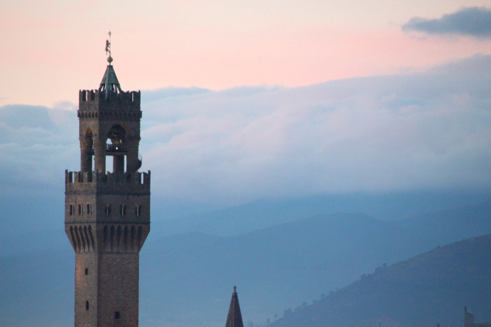 Palazzo Vecchio with clouds rolling in.