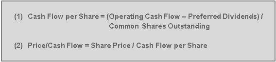 Price/Cash Flow formula:  P/CF  = Share Price / Cash Flow per Share