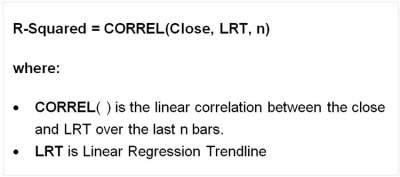 R-Squared formula:R-Squared= CORREL(Close, LRT, n)