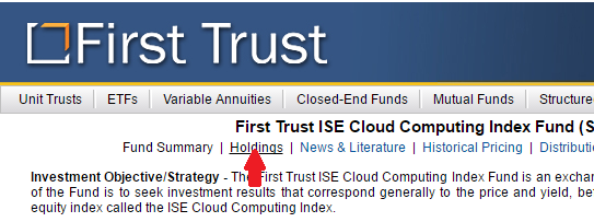 Go to the ETF home page and select holdings