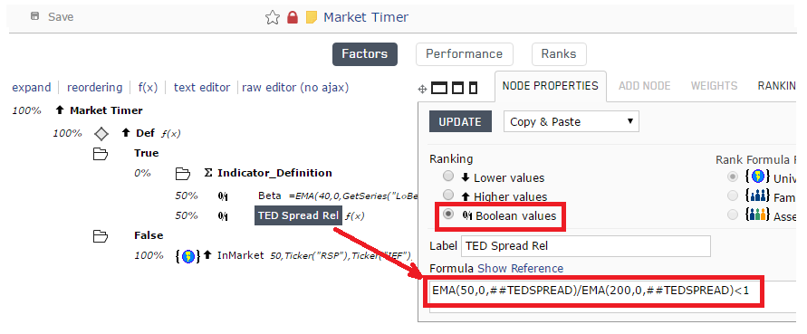 Screen shot of TED Spread node being added to Indicator_Definition