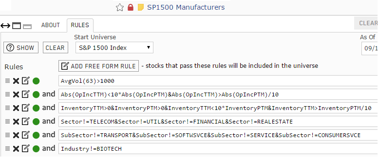 Custom universe for manufacturers listed on the S&P 1500