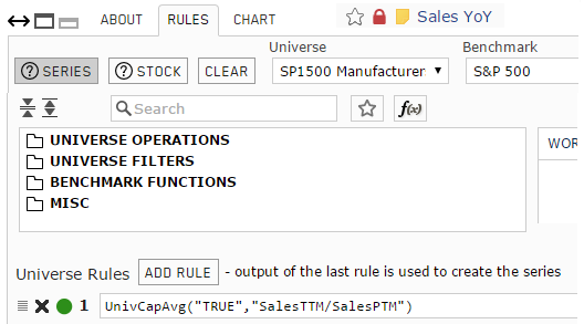Screenshot of the rules for aggregate custom series for Sales Year-over-Year