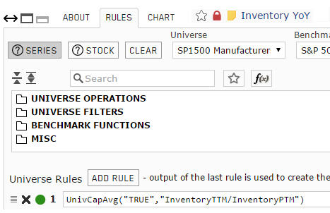 Screenshot of the rules for aggregate custom series for Inventory Year-over-Year