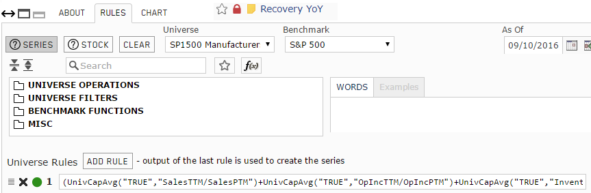 Screenshot of the rules for Recovery YoY custom series