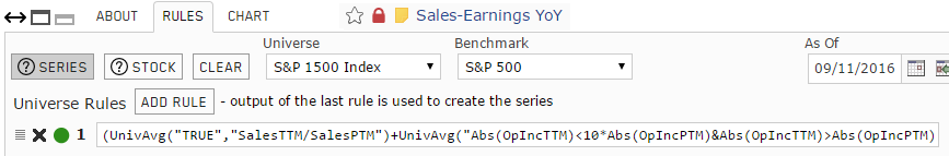 Screenshot of Sales+Earnings Year-over-Year custom series rules