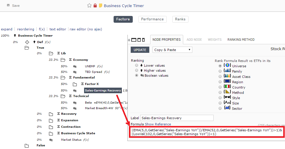 Screenshot of Business Cycle Timer ranking system with the addition of the formula for Sales-Earnings-Recovery
