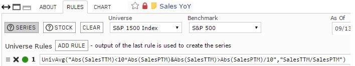 Screenshot of Earnings YoY custom series rules