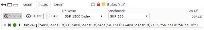 Screenshot of Sales YoY custom series rules