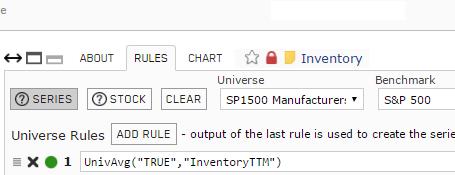 Screenshot of Inventory custom series rules