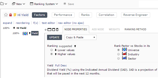 High yield ranking system