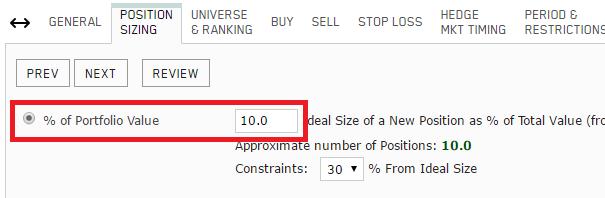 Simulation position sizing - 10 stocks