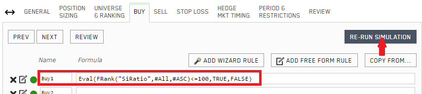 Buy rule added to the simulation