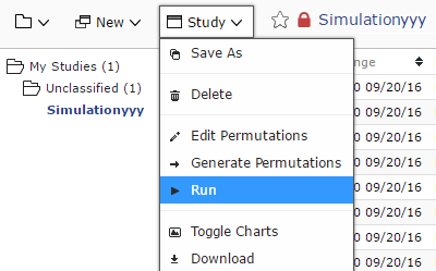 The simulation optimizer is run using the pull-down menu