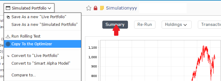 Simulation is copied to the Optimizer