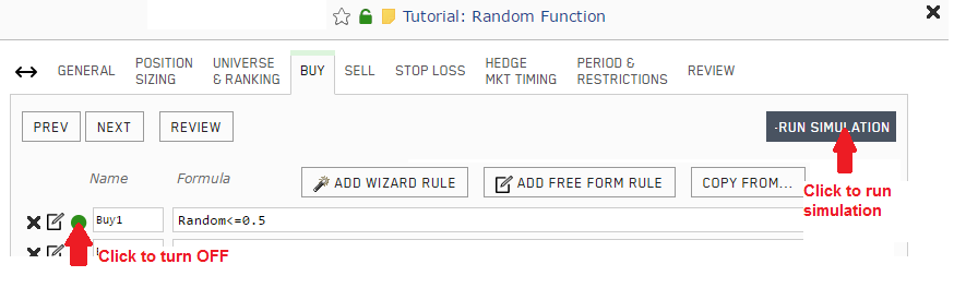 Screenshot showing how to disable the Buy rule