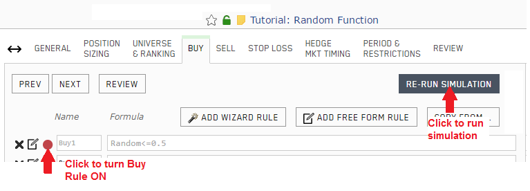 Screenshot depicting how to turn on the Buy rule and run the backtest