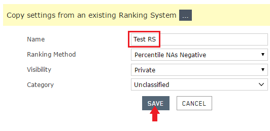 Name the ranking system then save it.